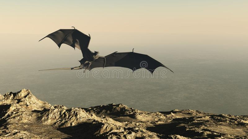 Draak die over een Klip van de Berg vliegt stock illustratie