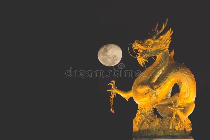 Draak en maan stock afbeeldingen