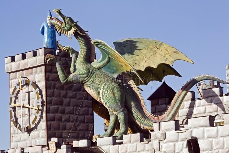 Draak en Merlin royalty-vrije stock foto's
