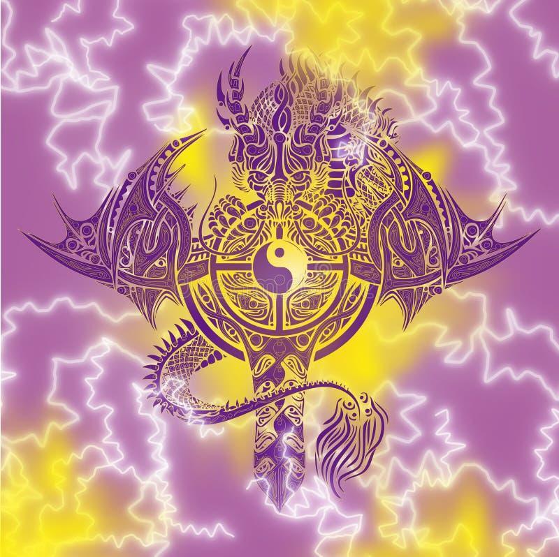 Draak en Tai Chi Sword royalty-vrije illustratie