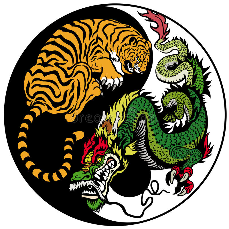 Draak en tijger yin yang royalty-vrije illustratie
