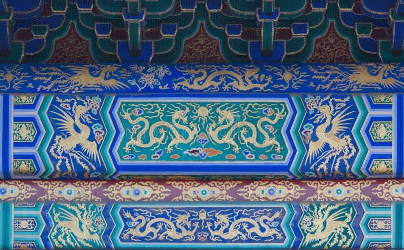 Draak en van Phoenix patronen bij de Tempel van Hemel in Peking royalty-vrije stock foto