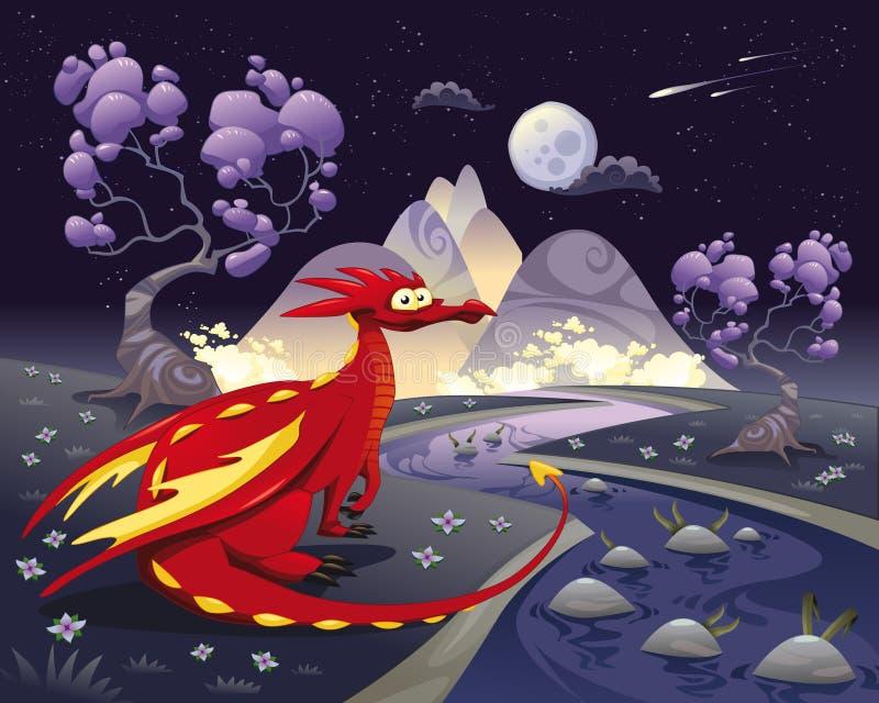 Draak in landschap in de nacht. vector illustratie