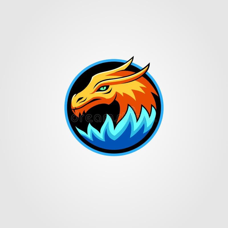 Draak met kleurrijke het embleem vector blauwe sinaasappel van de brandmascotte stock illustratie