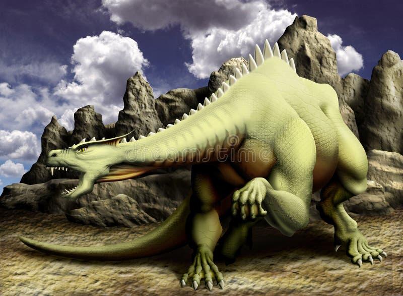 Draak in rotsen vector illustratie