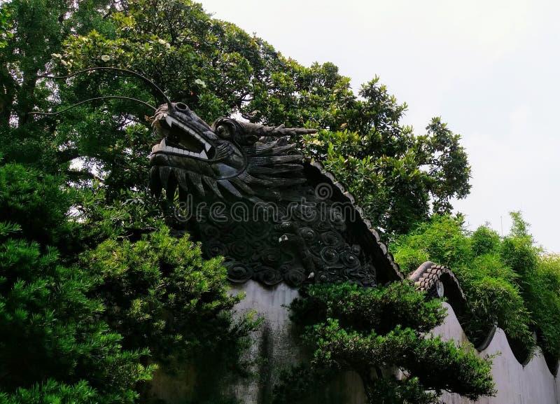 Draak` s hoofd van muur om Yu Yuan Gardens in Shanghai royalty-vrije stock afbeelding