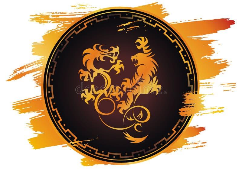 Draak versus de Strijd van de Tijger royalty-vrije illustratie