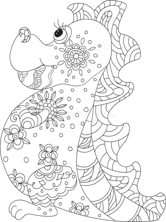 Draak zentangle stock illustratie