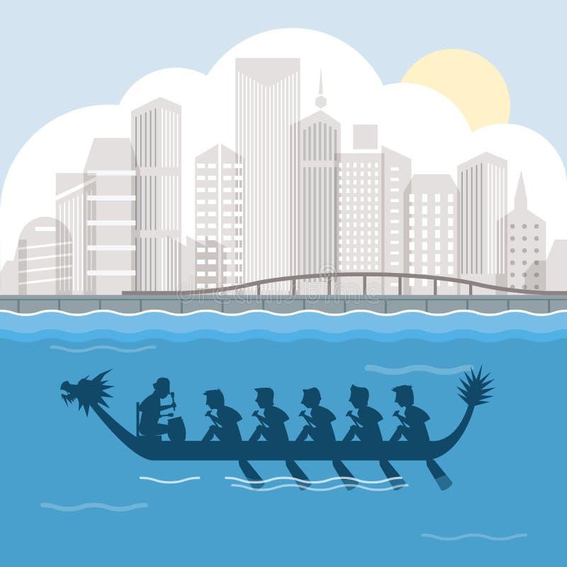 Draakboot achter de scène vectorillustratie van de havenstad vector illustratie