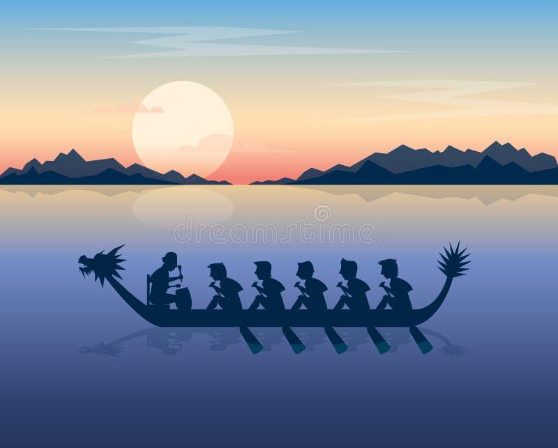 Draakboot op het overzees in de zonsondergang vector illustratie