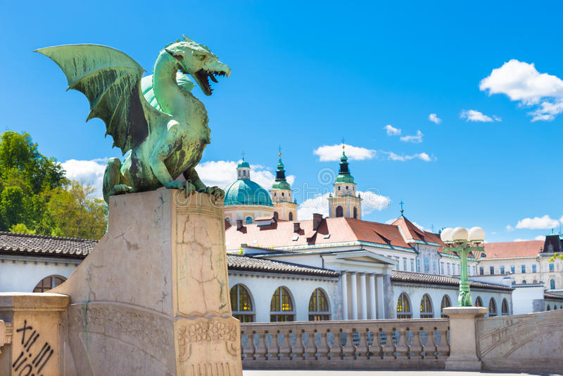 Draakbrug, Ljubljana, Slovenië, Europa stock afbeeldingen