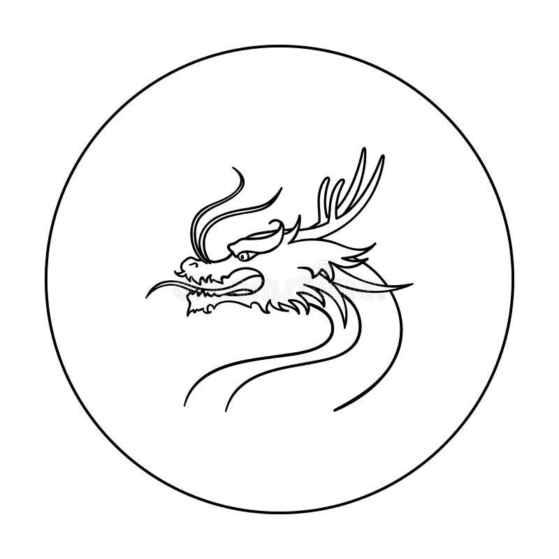 Draakpictogram in overzichtsstijl op witte achtergrond wordt geïsoleerd die Van de het symboolvoorraad van Zuid-Korea de vectoril vector illustratie