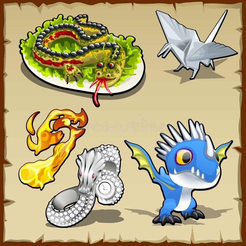 Draakreeks, verschillende voorwerpen met draakbeeld royalty-vrije illustratie