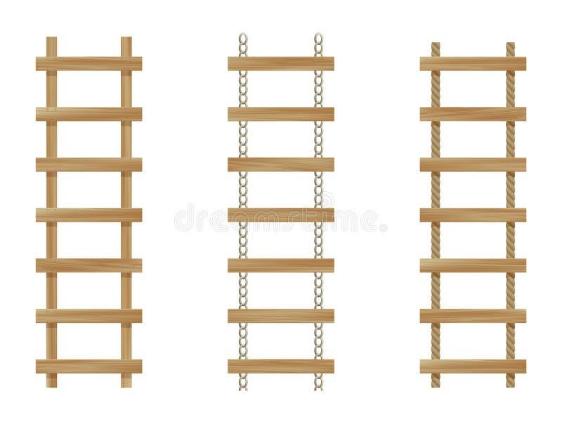 drabiny drewniane trzy ilustracji