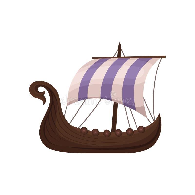 Draccar escandinavos de Viking com velas listradas, normandos enviam a ilustração do vetor da navigação em um fundo branco ilustração do vetor