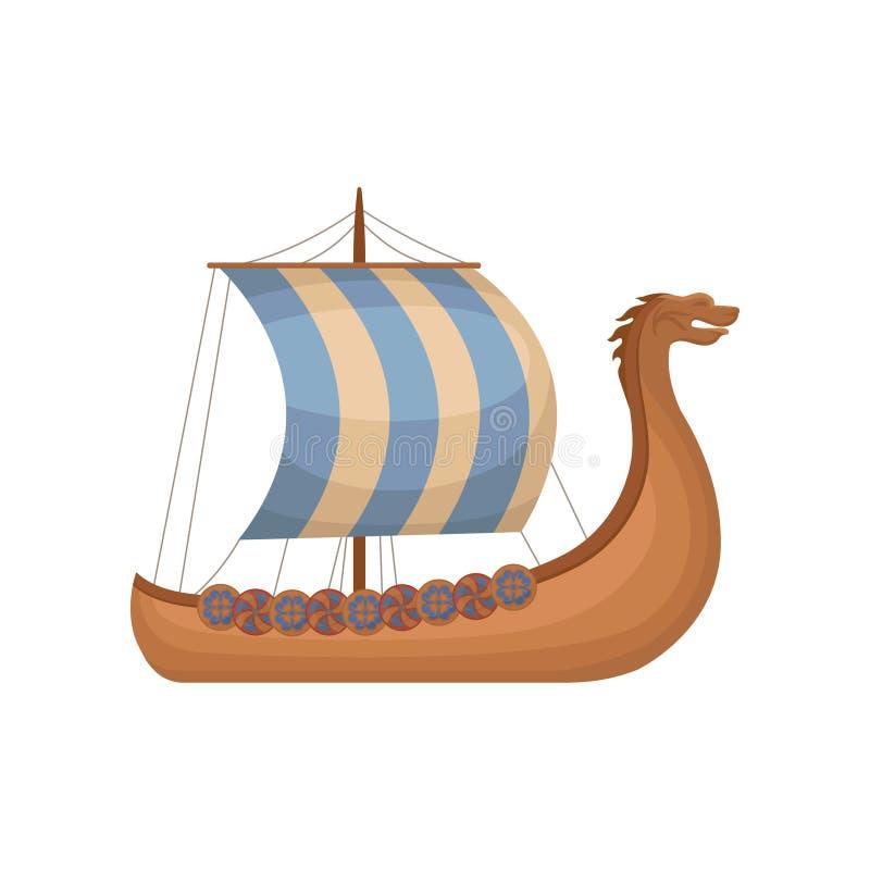 Draccar scandinavi antichi di vichingo con le vele a strisce, normanni spediscono l'illustrazione di vettore della navigazione su royalty illustrazione gratis