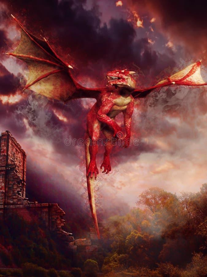 Drache, der über Ruinen fliegt stock abbildung