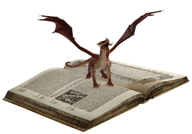 Drache ist auf dem Buch lizenzfreie abbildung