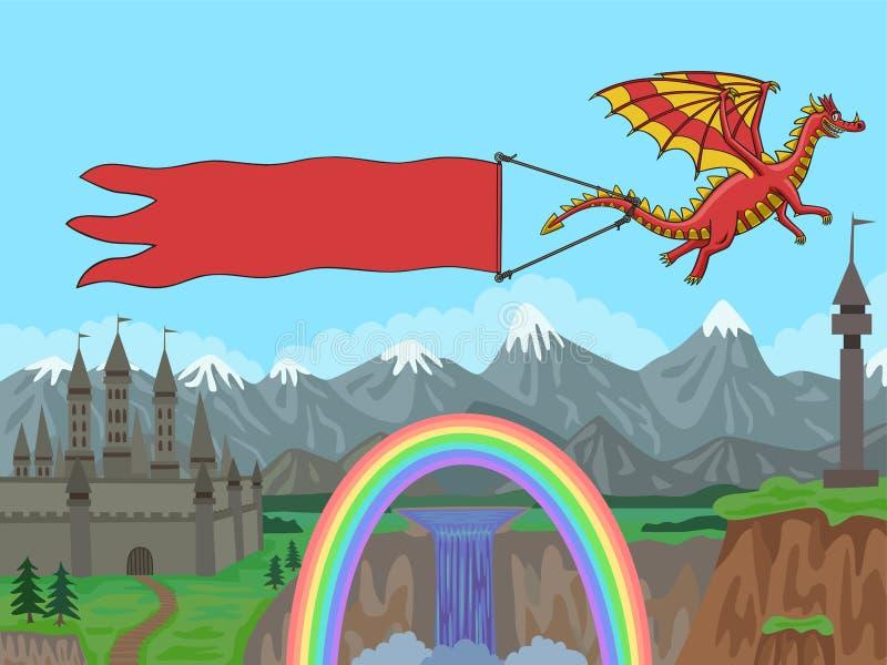 Drache mit Fahne im Hintergrund vektor abbildung