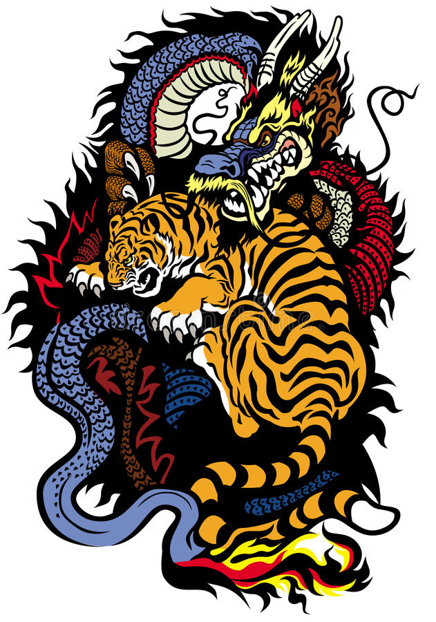 Drache und Tiger Fighting stock abbildung