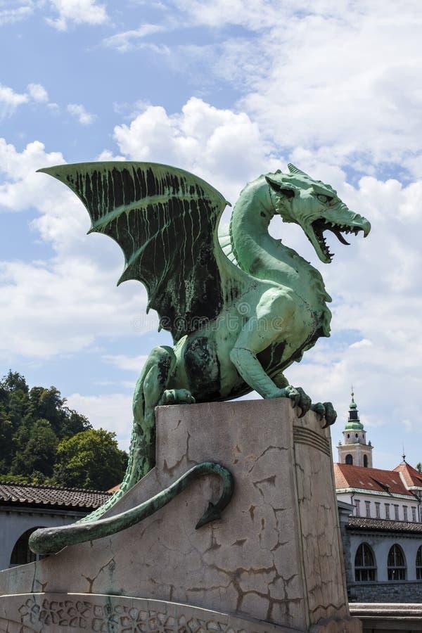 Drachebr?cke in Ljubljana, Slowenien stockfotografie