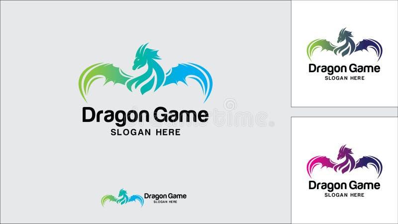 Drachelogo-Designschablone, Vektorillustration, Spiel-Logo vektor abbildung