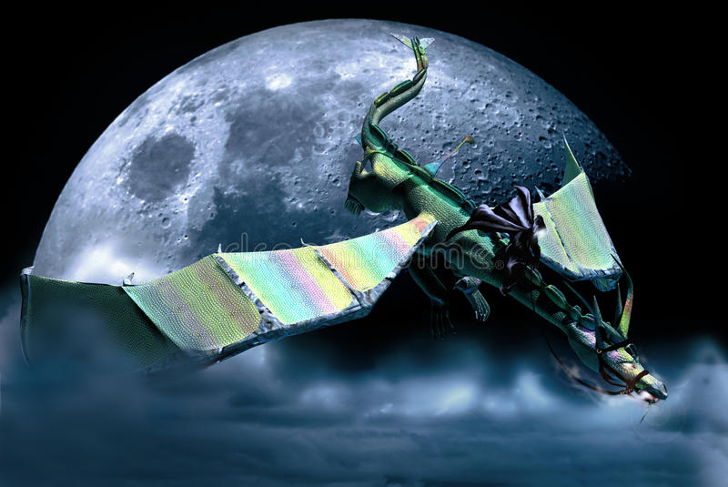 Drachemitfahrer unter dem Mond vektor abbildung
