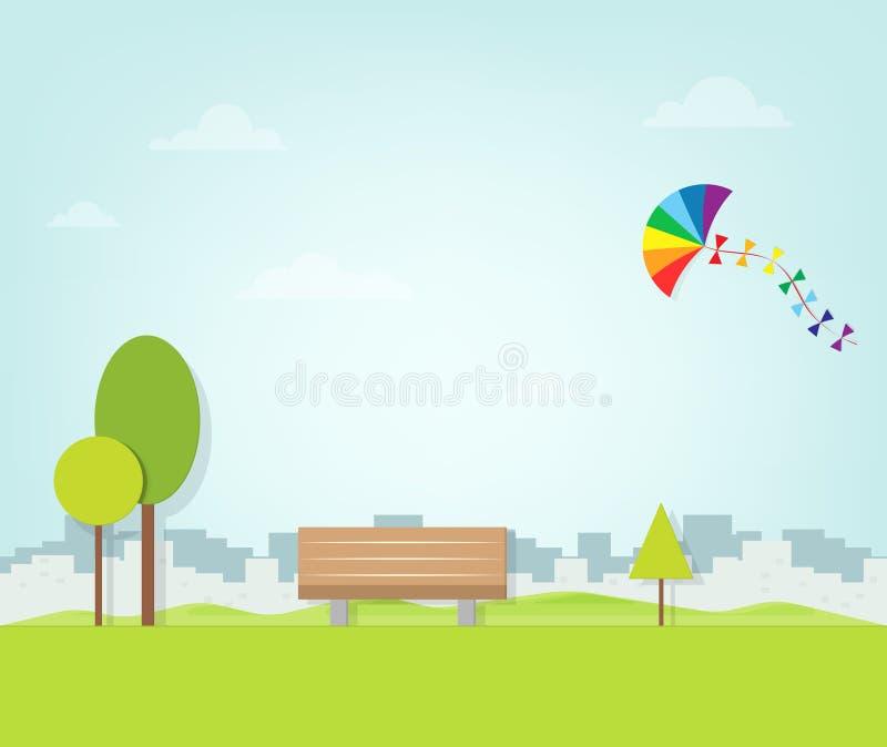 Drachen, der über den Park fliegt stock abbildung