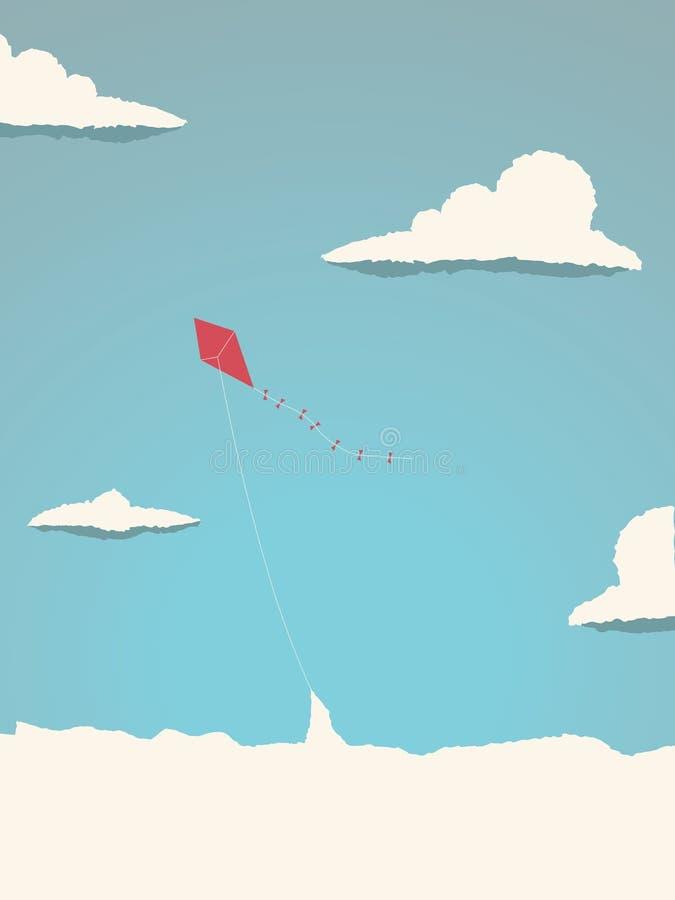 Drachen, der hoch in den Himmel über den Wolken fliegt Symbol der Freiheit, Kindheit, spielerische Zeiten lizenzfreie abbildung