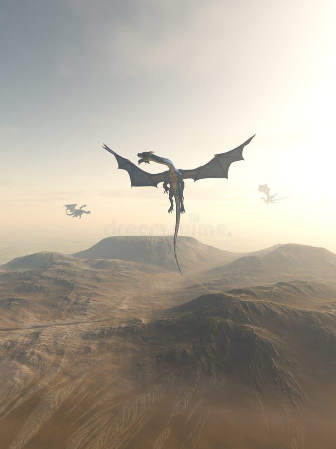 Drachen, die über einer Berglandschaft einkreisen vektor abbildung