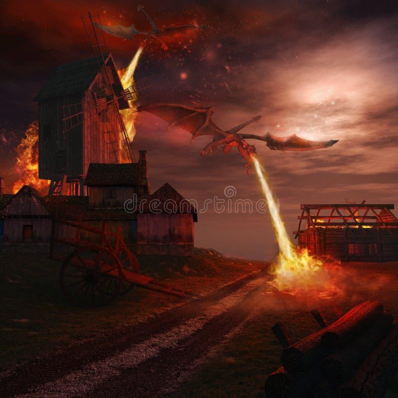 Drachen, die Windmühle in Angriff nehmen vektor abbildung