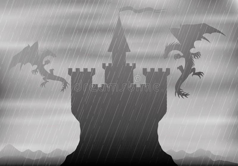 Drachen im Flug über dem Schloss stock abbildung