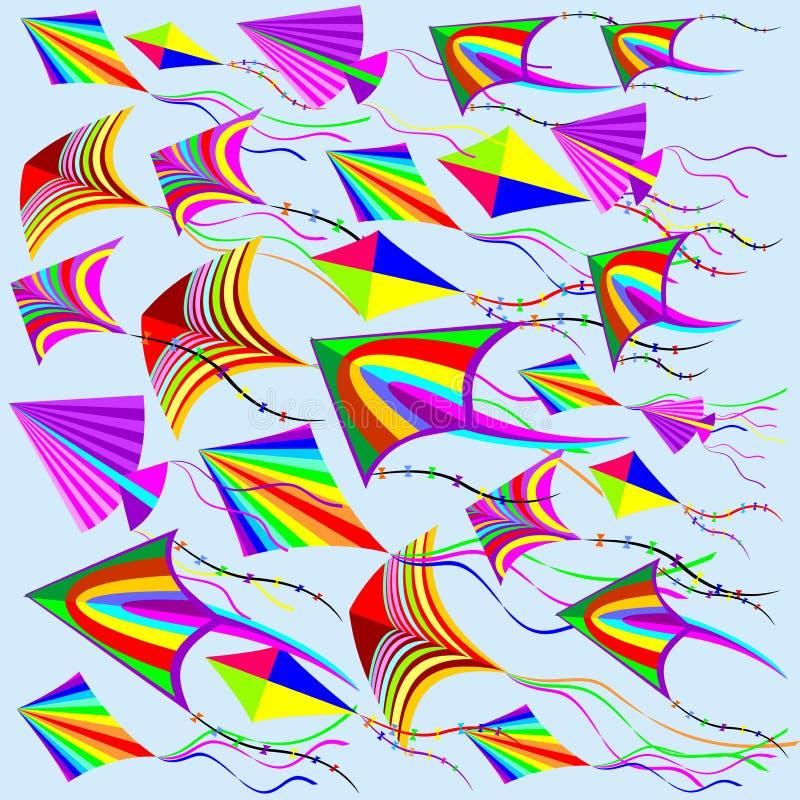 Drachen-Regenbogen-Farben Im Wind Vektor Abbildung - Illustration von  erstellt, spiel: 86763228