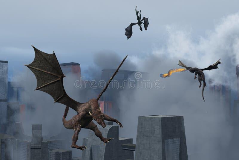 Drachen richten Zerstörung auf moderner Stadt an lizenzfreie abbildung
