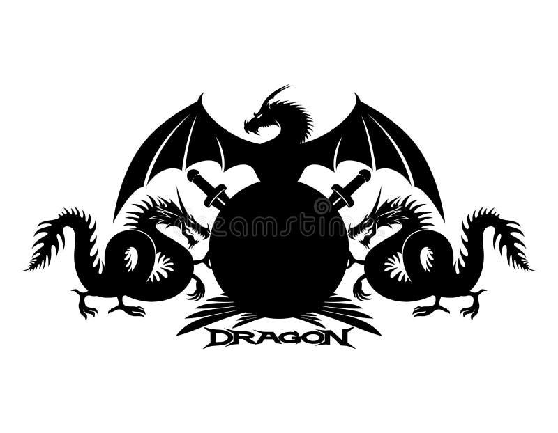 Drachen, Schild und Klingen lizenzfreie abbildung