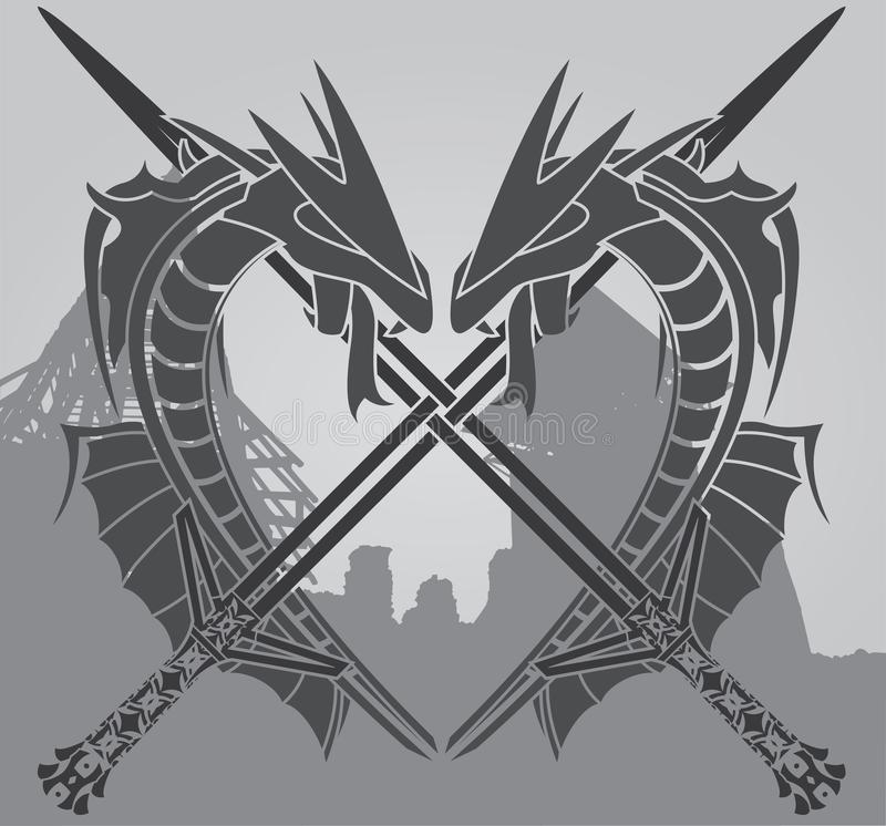 Drachen und Klingen stock abbildung