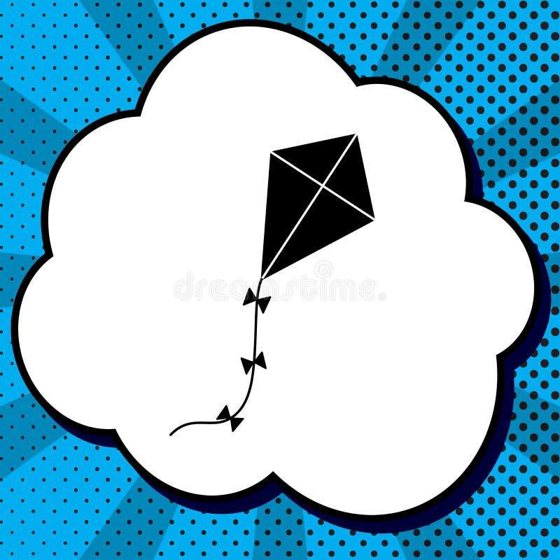 Drachenzeichen Vektor Schwarze Ikone in der Blase auf blauem Pop-Art backgrou stock abbildung