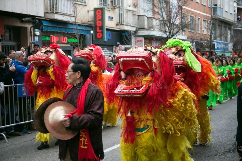 Drachetanz zur Feier des chinesischen neuen Jahres des Schweins lizenzfreie stockfotos
