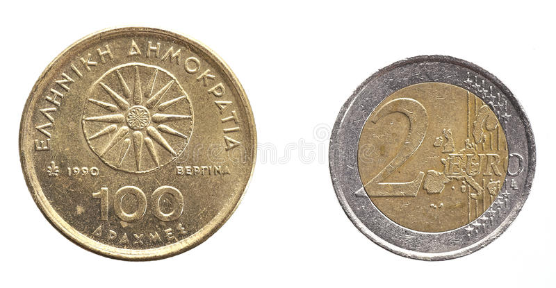 Drachme-euro photo stock