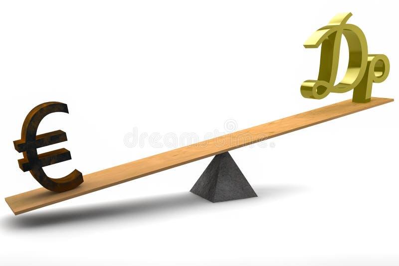 Dracma euro y griego en el balancín ilustración del vector