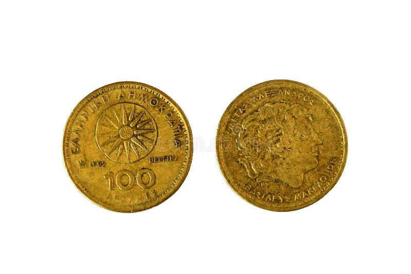Dracmas 1992 do grego 100 Moeda de bronze do vintage com o Alexander fotografia de stock royalty free