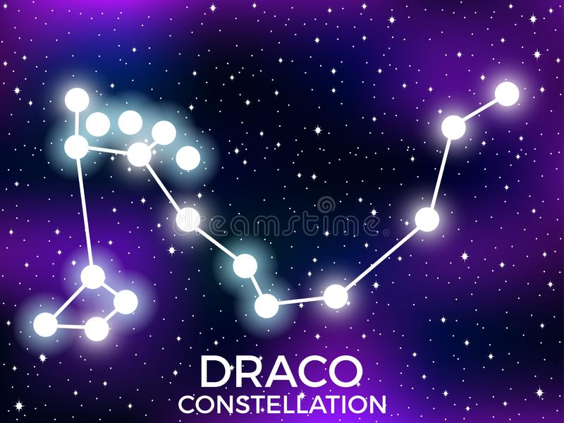 Draco constellation. Starry night sky. Cluster of stars and galaxies. Deep space. Vector. Illustration stock illustration