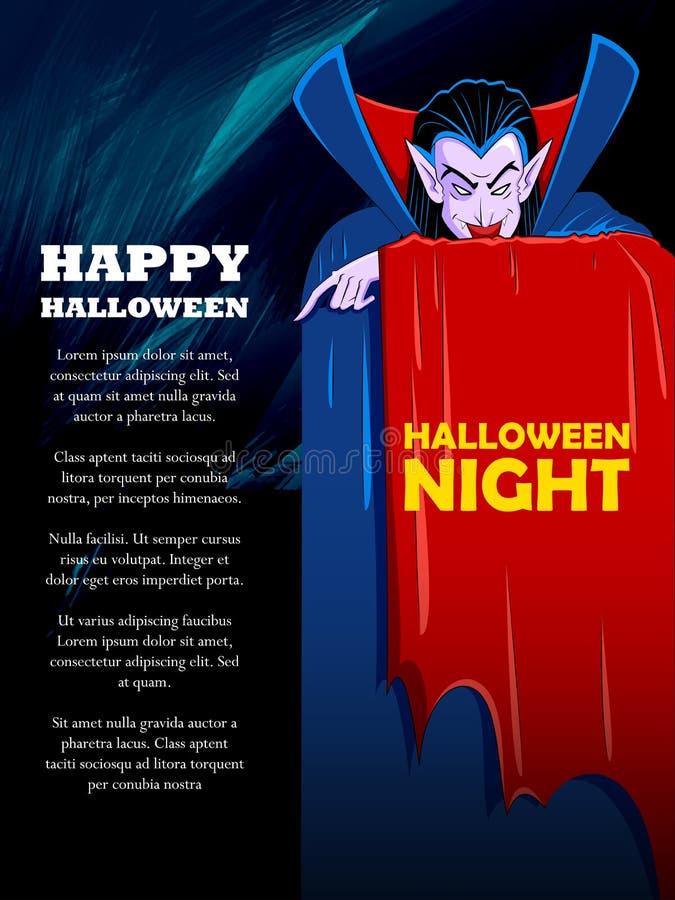 Dracula στο ευτυχές υπόβαθρο εορτασμού νύχτας διακοπών αποκριών απεικόνιση αποθεμάτων