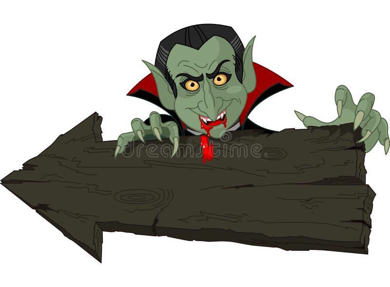 Dracula au-dessus de flèche de Veille de la toussaint illustration de vecteur