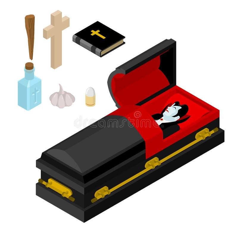 Dracula in bara Il vampiro include il cofanetto nero Anti vampiri royalty illustrazione gratis