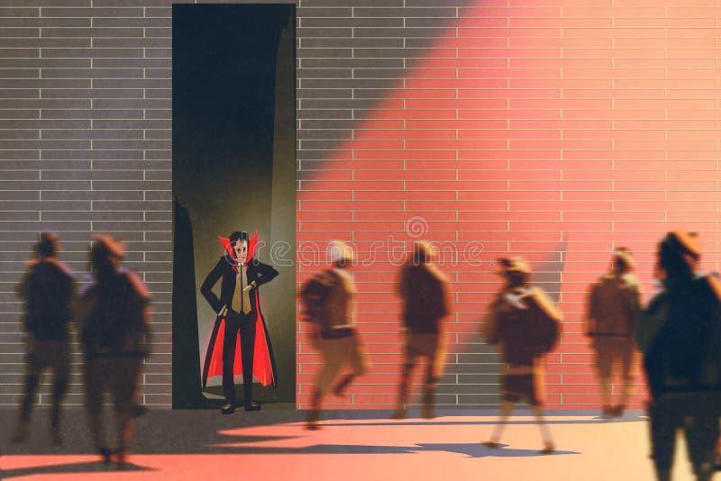 Dracula, der in der schmalen Gasse von brennender Sonne sich versteckt lizenzfreie abbildung