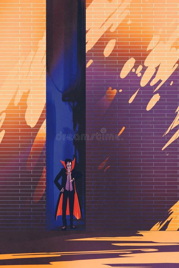 Dracula, der in der schmalen Gasse von brennender Sonne sich versteckt stock abbildung