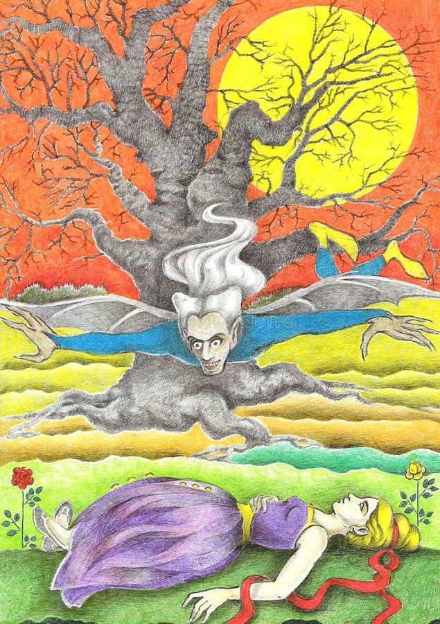dracula dziewczyna royalty ilustracja