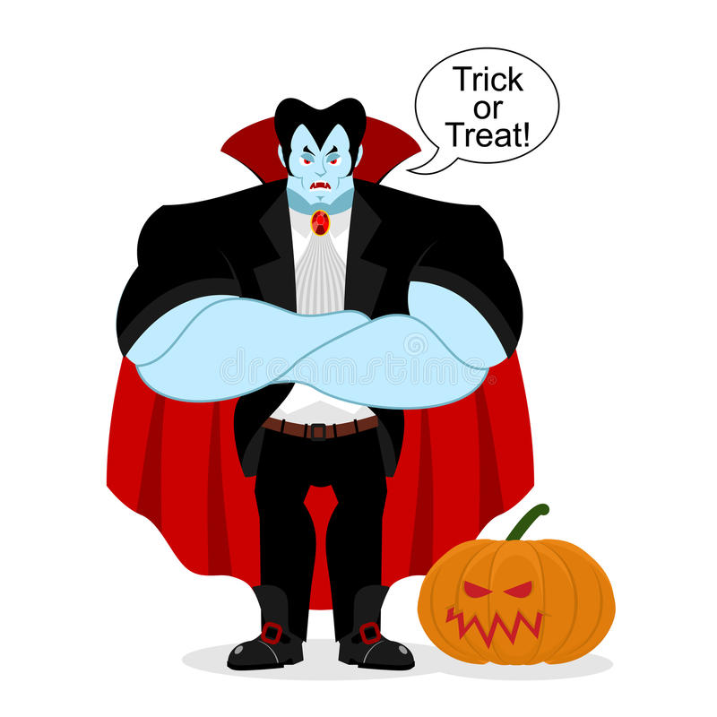 Dracula e abóbora O vampiro poderoso sério guarda o vegetal ilustração stock