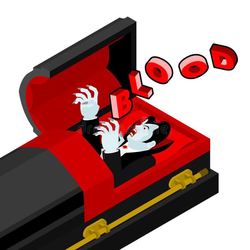 Dracula em seu caixão grita sangue Sede para ensanguentado do vampiro ilustração do vetor